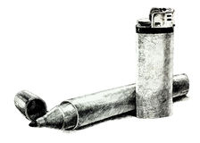 Lighter and Felt Tip Pen. Original pencil  or drawing charcoal, and  hand drawn painting or  working  sketch of a lighter and Felt Tip Pen.Free composition Stock Photos