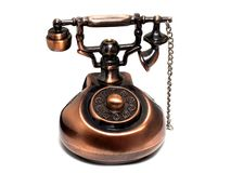 Lighter in the form of an antique phone isolated on white stock images