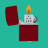 Lighter icon. Pocket zippo with fire. Modern fuel lighter. Stock Image