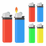 Lighter icon set. A lighter is a device which is used to ignite the cigarette royalty free illustration