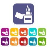 Lighter icons set flat Stock Image