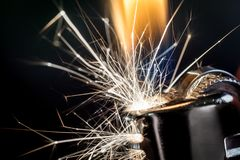Lighter Igniting Sparks royalty free stock photo