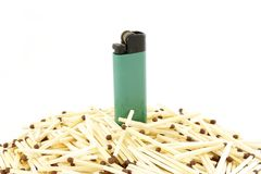 Lighter and matches Stock Image