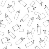 Lighter seamless pattern on a white background in a linear design style. Background with lighters Royalty Free Stock Photography