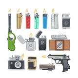 Lighter vector cigarette-lighter with fire or flame light to burn cigarette illustration set of flammable smoking Stock Photos
