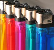 Lighters. Some colorful lighters royalty free stock photos