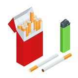 Lighters, cigarettes pack, cigarette . Flat 3d vector isometric illustration Stock Photos