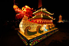 Lightful dragon in chinese lantern festival. Lightful tower in chinese lantern festival celebrating new year Stock Photo