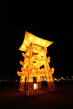 Lightful tower in chinese lantern festival celebra Stock Photos