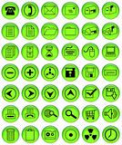 Lightgreen office buttons. 42 lightgreen buttons with useful office icons Royalty Free Stock Image