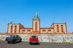 Lighthause法鲁de在Las Playitas,费埃特文图拉岛,西班牙附近的la Entallada 免版税库存图片