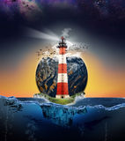 Lighthoues on island illustration, sky and underwater marine lif Stock Images