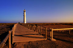 Lighthous in Morro Jable, Fuerteventura, Spanje stock foto