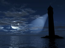 Lighthouse. On an island lighting in dark distance on a background a sea, moon and clouds stock image