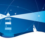 Lighthouse. The silhouette of the lighthouse and boat Royalty Free Stock Photo