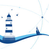 Lighthouse. The silhouette of the lighthouse and boat Royalty Free Stock Image