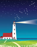 Lighthouse. In the shining in the night Stock Image