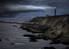 Lighthouse. During a storm at the california coast Stock Image