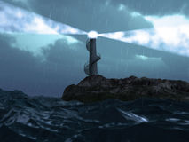 Lighthouse. Lighting lighthouse in the storm weather landscape ( 3d rendering vector illustration