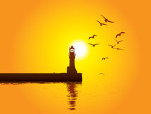 Lighthouse. Vector illustration of Lighthouse on sunset Royalty Free Stock Photo