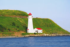 lighthouse. Scenic postcard perfect  old lighthouse on a hill by the seaside with blue sky scenery Stock Photography