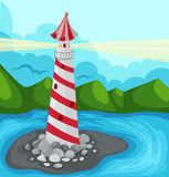 Lighthouse. Illustration of cartoon landscape lighthouse Stock Photos