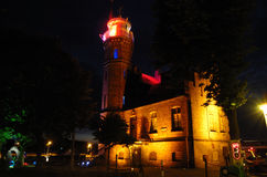Lighthouse. In the port of Ustka at night.  Ustka, Poland Royalty Free Stock Photos