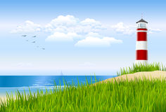 Lighthouse. Illustrated ocean view scene with a lighthouse behind a sandy dune Royalty Free Stock Images