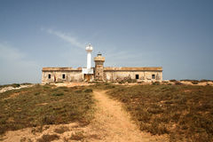 Lighthouse. Southern Italy-The Lighthouse in the isola delle correnti sicily Royalty Free Stock Images