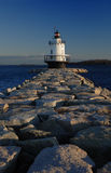 Lighthouse. Small lighthouse in early morning stock photography