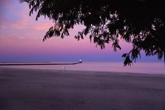 Lighthouse. Ludington Lighthouse and beach on Lake Mighigan Royalty Free Stock Images