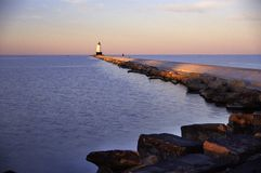 Lighthouse. Ludington Lighthouse and beach on Lake Mighigan Stock Photo