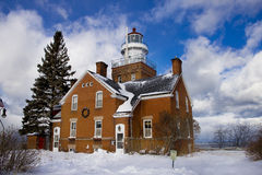 Lighthouse. A pic of a lighthouse near Big Bay Michigan, during the winter Stock Image