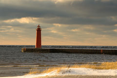 Lighthouse. Lake Michigan, Muskegon at winter stock photography