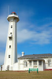 Lighthouse. The famous white lighthouse of Port Elizabeth in the Eastern Cape province in South Africa in front of blue sky background Royalty Free Stock Photo