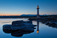 Lighthouse. A lighthouse at Lake Geneva, Switzerland at dawn Royalty Free Stock Photos