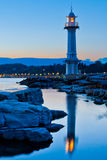 Lighthouse. A lighthouse at Lake Geneva, Switzerland at dawn Stock Photography