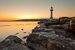 Lighthouse. A lighthouse at Lake Geneva, Switzerland at dawn Stock Photo