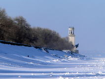 Lighthouse. On the winters sea Royalty Free Stock Photos