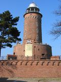 Lighthouse 2. Old lighthouse in Kołobrzeg (Poland). Inscription says: To killed heroes in fight with Nazi invader for freedom and independence Royalty Free Stock Images