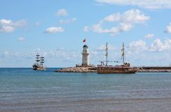 Lighthouse. Beacon against sea landscape. Turkey Royalty Free Stock Photo