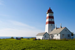 Lighthouse. The Alnes lighthouse in Norway and a beautiful sky Royalty Free Stock Photos