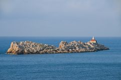 Island with lighthouse, Croatia Royalty Free Stock Photography