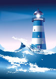 Lighthouse. With breaking waves, eps10 royalty free illustration