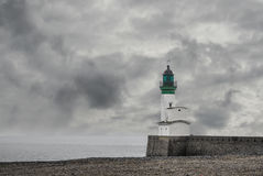 Lighthouse. Small lighthouse in Le Treport, France stock image