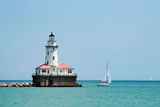 Lighthouse. At the entrance to the Chicago harbor Lake Michigan Stock Images