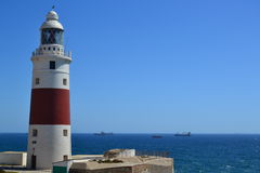 Lighthouse and ocean traffic & transportation Royalty Free Stock Image
