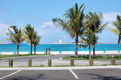 Lighthouse Island Palm Trees Parking Lot Bahamas Stock Photos