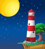 Lighthouse. Illustration of a light house in a dark night Royalty Free Stock Photo
