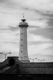 Lighthouse. Black and white lighthouse near Atlantic ocean Stock Photo